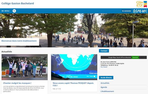 page d'accueil éclat BFC Skolengo
